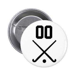 Custom Number Team Field Hockey 6 Cm Round Badge