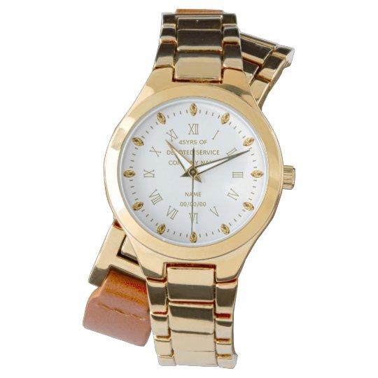 Custom NURSE Retirement Watch Gold White Elegant 2