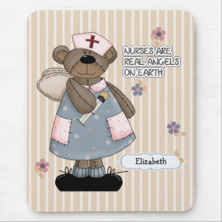 Custom Nurse's Name Teddy Bear Design Mousepad