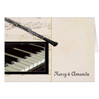 Custom oboe and piano design card