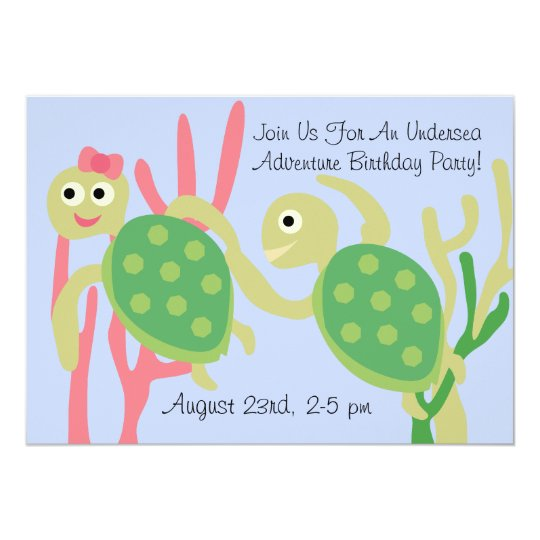 Custom Ocean Turtles Undersea Birthday Invitation