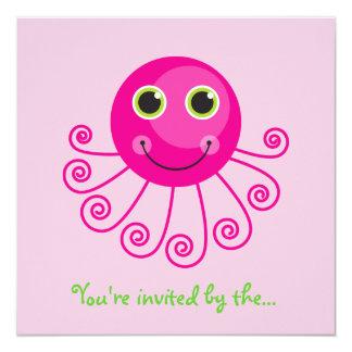 "Custom Octopus Big Sister Child's Name 5.25"" Square Invitation Card"