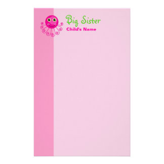 Custom Octopus Big Sister Child's Name Stationery