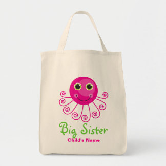 Custom Octopus Big Sister Child's Name Tote Bag
