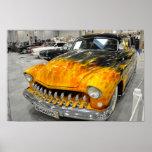 Custom On Fire Car Poster