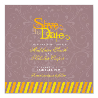 Custom orange and gold white vintage save the date 13 cm x 13 cm square invitation card