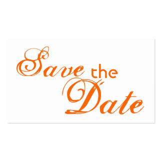 Custom orange letter save the date wedding cards business cards