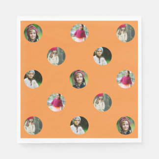 Custom Orange Photo Dot Paper Serviettes