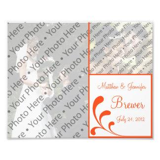 Custom Orange & White Wedding Photo Collage Print