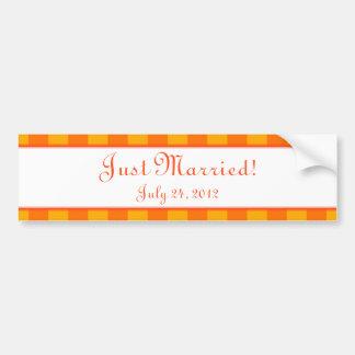 Custom Orange & Yellow Bumper Sticker Wedding Gift