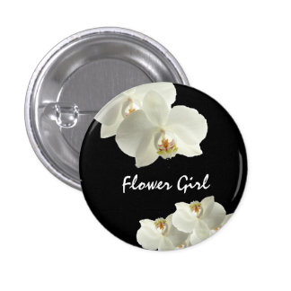 Custom Orchid Flower Wedding Flower Girl Buttons