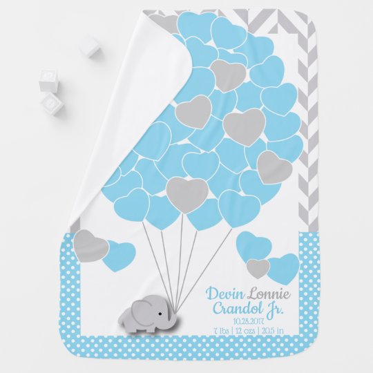 Custom Order - Blue, White Grey Elephant Baby