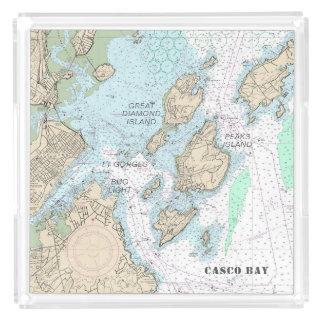 Custom Order: Casco Bay Authentic Nautical Chart Acrylic Tray
