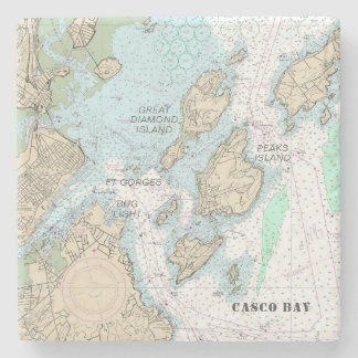 Custom Order: Casco Bay Authentic Nautical Chart Stone Coaster