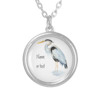 Custom Original Watercolor Great Blue Heron Bird Silver Plated Necklace