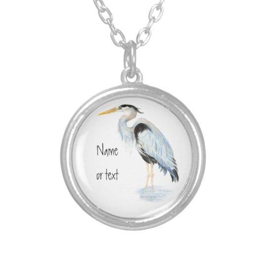 Custom Original Watercolor Great Blue Heron Bird Silver