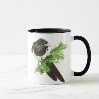 Custom Original Watercolor Magpie Pine Branch Mug