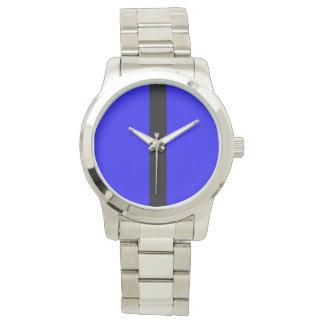 Custom Oversized Silver Bracelet Blue Image Watches