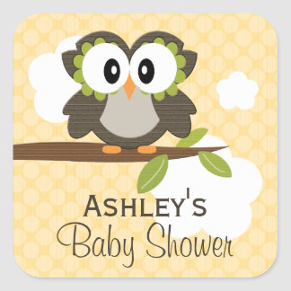 Custom Owl Party Favor Labels Yellow Square Sticker