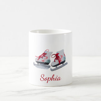 Custom pair of Ice skates on white add a name Coffee Mug
