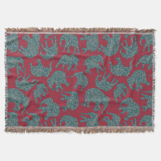 Custom Paisley Elephants on Deep Red Throw Blanket
