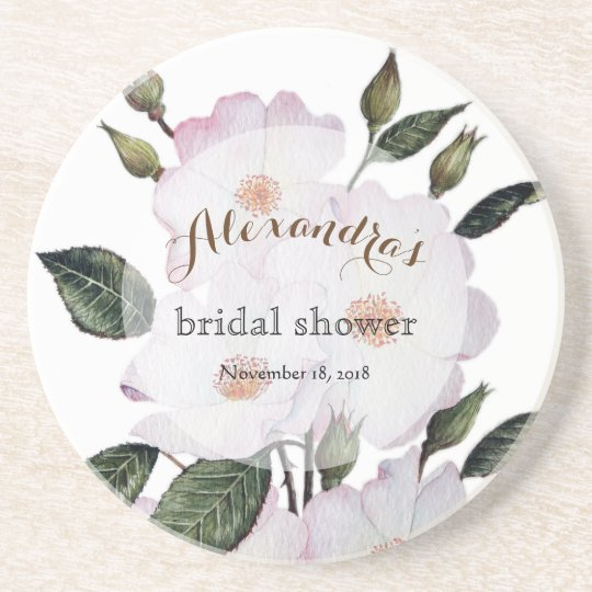 Custom Pale Pink Roses Bridal Showers Coaster