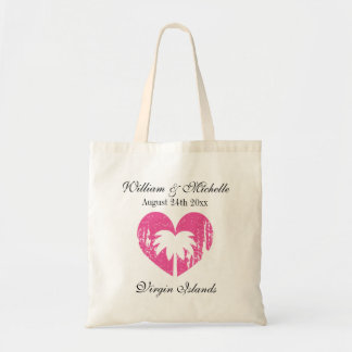 Custom palm destination beach wedding tote bags