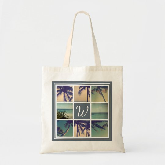 Custom palm photo collage beach wedding tote bags