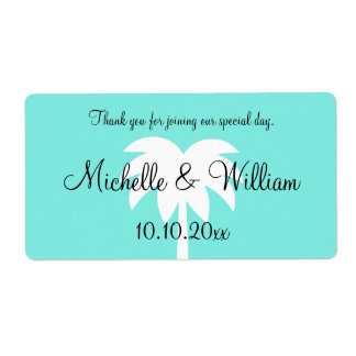 Custom palm tree beach wedding water bottle labels