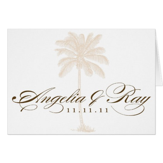 Custom Palm Tree Wedding Logo Card