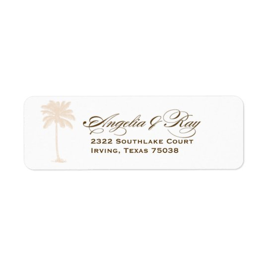 Custom Palm Tree Wedding Logo Return Address Label
