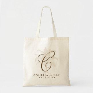 Custom Palm Tree Wedding Logo Budget Tote Bag