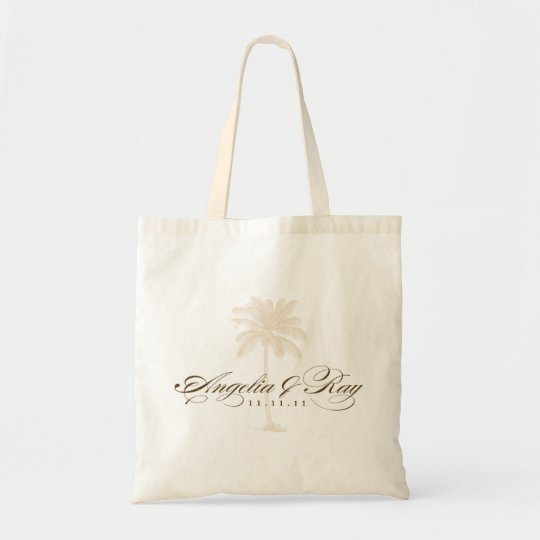 Custom Palm Tree Wedding Logo Tote Bag