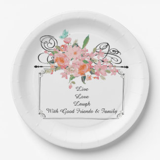 custom Paper plate flower live love laugh family 9 Inch Paper Plate