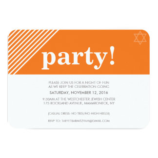 CUSTOM PARTY cool modern bold name orange 9 Cm X 13 Cm Invitation Card