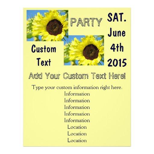 Custom Party Flyer template design Sunflowers