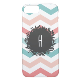 Custom Pastel Zigzag Pattern Leafy Monogram iPhone 8/7 Case