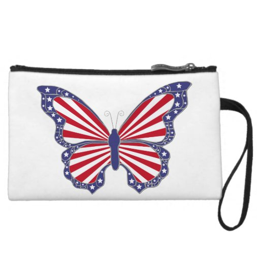 Custom Patriotic Red White Blue Butterfly Clutch Wristlet Purse