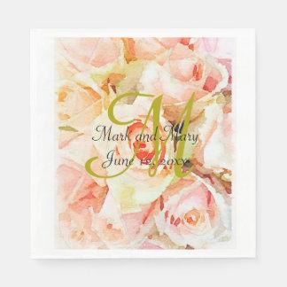 Custom Peach Watercolor Roses Wedding Paper Napkin