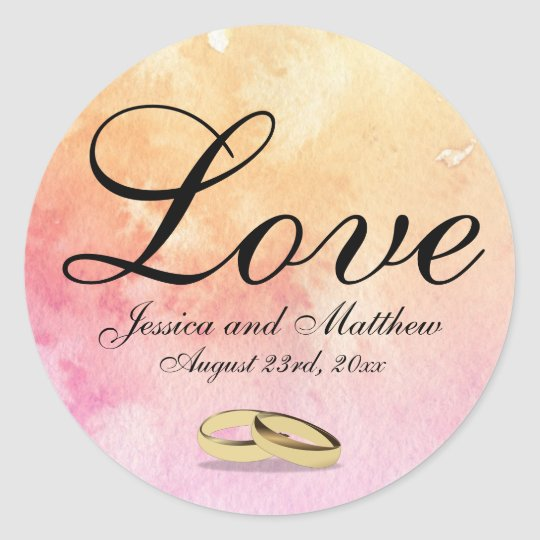 Custom Peachy Pink Love Sticker with Wedding Rings