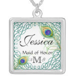 Custom Peacock Personalised Maid of Honour Square Pendant Necklace