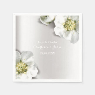 Custom Pearly White Gray Silver Metallic Floral Disposable Serviettes