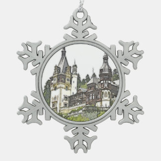 Custom Peles Castle Romania Snowflake Pewter Christmas Ornament