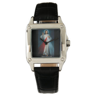 Custom Perfect Square Black Leather Wrist Watches