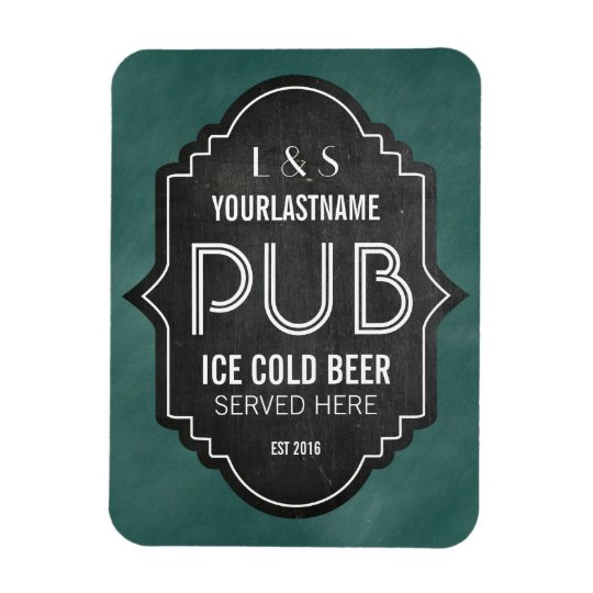 Custom Personalised Chalkboard Pub Sign Rectangular Photo Magnet