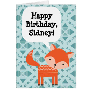 Custom Personalised Children's Birthday Red Fox Card