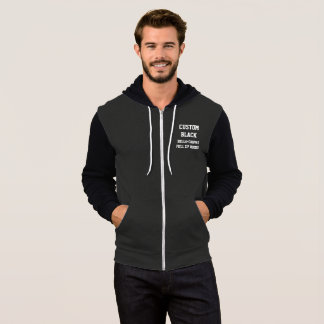 Custom Personalised Men's BLACK FULL ZIP HOODIE