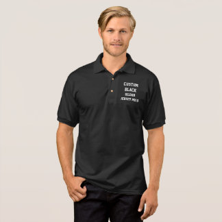 Custom Personalised Men's BLACK JERSEY POLO SHIRT