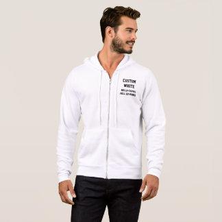 Custom Personalised Men's WHITE FULL ZIP HOODIE