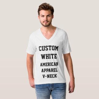 Custom Personalised Men's WHITE V-NECK T-SHIRT